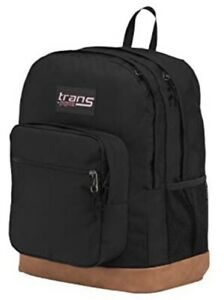 "Trans by JanSport 17"" Super Cool Backpack Black w/ Brown Synthetic Leather Base"