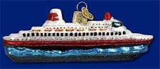 CRUISE SHIP OLD WORLD CHRISTMAS BLOWN GLASS BOAT VACATION ORNAMENT NWT 46030