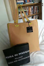 LAURA DI MAGGIO LEATHER NEON POP TOTE BAG IN CARAMEL & LIME-NWT-MADE IN ITALY