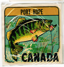 Vintage Old Window Travel Decal Large Fish Being Hooked Port Hope Canada