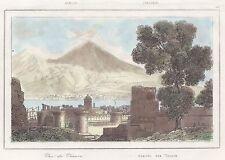 NAPOLI CAPITALE: Maschio Angioino e Vesuvio. ACQUERELLATA. Stampa Antica. 1835