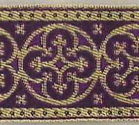 "Traditional Jacquard Vestment Trim Gold & Purple 1 5/8"" Wide Medieval Gothic DIY"