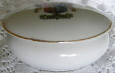 Trinket   Lidded  Oval   Dish   Crested  China  Souvenir  For  Hastings   c1930s