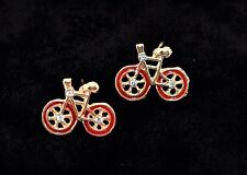 Day shipping. Best Valentine's gift! Red Bicycle earrings. Unique design. Same