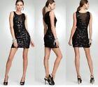 NWT Bebe black deep v neck textured sequin bodycon top dress XS 0 2 cocktail