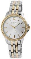 Excellanc Damenuhr Silber Gold Strass Analog Metall Armbanduhr Quarz X1800143004