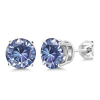 925 Sterling Silver Earrings Vivid Persian Blue Round Created Moissanite 6.5mm