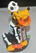 Disney Pluto Figurine in Halloween Skeleton Costume & Pumpkin Candy Bag Dog Pet
