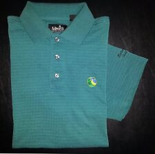 Ashworth Weather Systems Shirt Golf Polo M Green Woven Design s2980