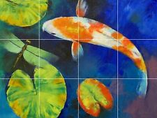 carp koi fish feng shui pond lotus ceramic tile mural backsplash
