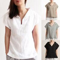 Womens Summer Cotton T-Shirt V Neck Short Sleeve Casual Tank Tops Blouse Shirt