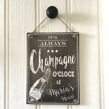 Personnalisé Champagne Bar Parti Boire Hanging Sign Plaque | Champagne o 'clock