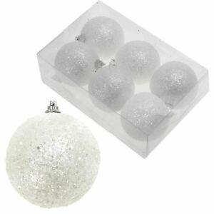 Noël Arbre - Blanc Boules de Neige Boules Décoration Tenture - Taille au Choix