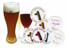"20 PERSONALISED WEDDING DRINKS TOKENS - ""One Free Drink""  Party"