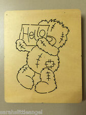 WOODEN DIE CUTTER-HELLO Bear, Use in Sizzix Big Shot, VERY RARE!!!