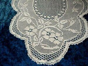 Antique MARY CARD Design 'Briar Rose' 1933   Filet Hand Crochet Centre/mat