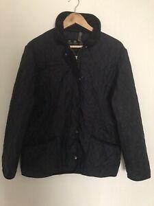 Vintage Womens Black Polarquilt Barbour Jacket Coat Size 16