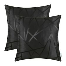 2pcs Cushion Cover Pillow Shells Cases Triangles Geometric Decor 45x45 Black