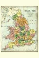 England and Wales 19th Century Antique Style Map Poster 24x36 inch