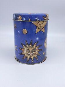 Vintage Blue Celestial Tin - 90's Biscuit Tin Retro Kitsch