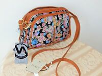 NWT Valentina ITALY FLORAL Pebbled Leather Three Zippers Crossbody Handbag Purse