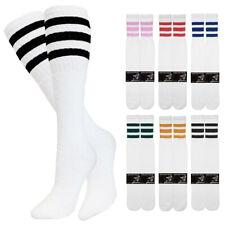 "1-4 Pair Cotton 3 Stripe Knee High Tube Socks Old School 24"" Soccer Sports 10-15"