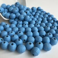 25X Beehive Style Wood Beads 14mm Round Wooden Macrame Craft Pastel Blue Bead