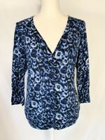 Talbots Womens Button Up Cardigan Sweater Size L Blue Black V Neck Long Sleeve