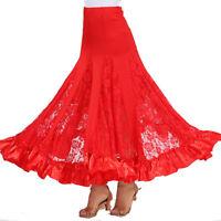 Ballroom Dance Long Skirt Party Tango Waltz Performance Lace Big Swing #6