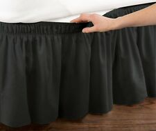 """QUEEN KING SIZE BED SKIRT WRAP AROUND 14"""" DROP DUST RUFFLE, BLACK"""