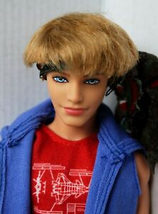 Ken Doll Fashionista Blonde Articulated Arms Redressed Cute