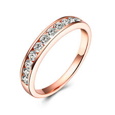 Solid 14K Rose Gold Round 0.44ct Genuine Moissanite Band Unisex Wedding Ring