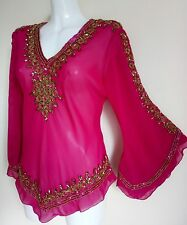 WOMENS GOLD SEQUINS BLOUSE FUSHIA SHIRTS WEDDING TOPS NIGHT PARTY CAFTAN TOPS 12