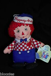 """Raggedy Ann & Andy 7"""" Bean Bag ANDY Plush Toy Doll Applause NEW NWT"""