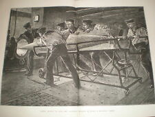 Torpedo Practice on HMS Thunderer by W H Overend 1878 large old print ref Y1