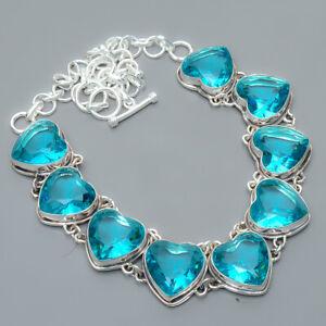 "Heart - Blue Topaz 925 Sterling Silver Jewelry Handmade Necklace 17.99"" S1940"