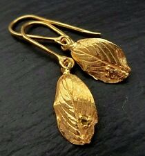 Citrin Blatt Ohrringe 14,5ct 925 Sterlingsilber rhodiniert Handarbeit O270