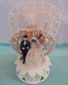 Vintage 1960's Wedding Cake Topper ~ Bride & Groom ~ Wilton~Plastic,Glitter,Bell