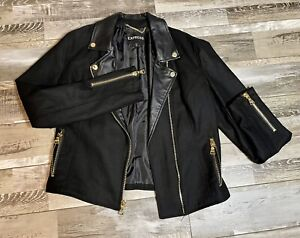 Express Faux Leather and Wool Motorcycle Jacket