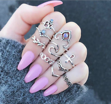 10Pcs/Set Bohemian Carve Flower Hollow Knuckle Ring Rhinestone Midi Ring Jewelry