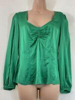 BNWOT NEXT green satin evening silky long sleeve blouse top size 12 euro 40