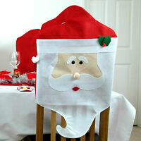 2 x Santa Claus Dining Chair Covers Father Christmas Decorations Xmas Party