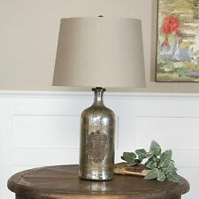 NEW ANTIQUE STYLE MERCURY GLASS BOTTLE TABLE LAMP BRASS MEDALLION LINEN SHADE