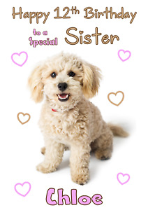 Cavapoo Cute Dog personalised A5 birthday card - any NAME AGE RELATION