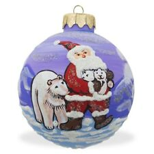 "3.25"" Santa and Polar Bear Glass Ball Christmas Ornament"