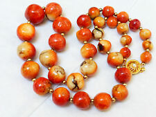 VINTAGE NATURAL APPLE CORAL BEADS NECKLACE, TOTAL 77 GRAMS