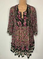 WOMENS WALLIS PINK&BLACK FLORAL 3/4 SLEEVE CASUAL SHEER SUMMER BLOUSE TOP SIZE L