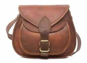 New Women's Vintage Brown Real Leather Messenger Cross Body Bag Handmade Purse