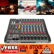 USB Pro 8 Channel bluetooth Live Studio Audio Mixer power mixing Amplifier