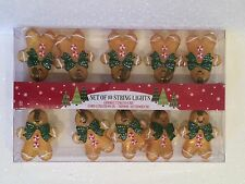 GINGERBREAD 10 CT STRING LIGHT SET XMAS TREE DECOR FAKE CANDY PEPPERMINT RIBBON